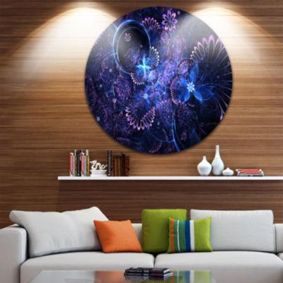 Design Art Dark Blue and Pink Fractal Flowers Large Floral Metal Circle Wall Art