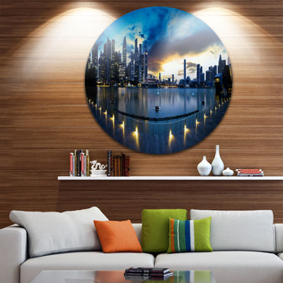 Design Art View from Marina Bay Sands Panorama Cityscape Circle Metal Wall Art