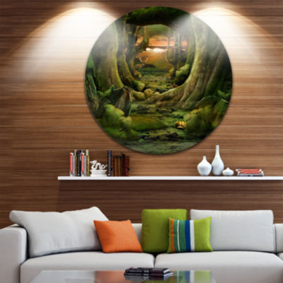 Design Art Green Paradise Tunnel Landscape Metal Circle Wall Art