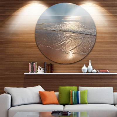 Design Art Tranquil Seashore with Crystal Waters Seascape Metal Circle Wall Art