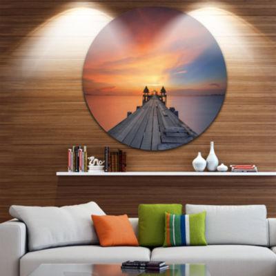 Design Art Wooden Bridge Straight Into the Sea SeaBridge Metal Circle Wall Art