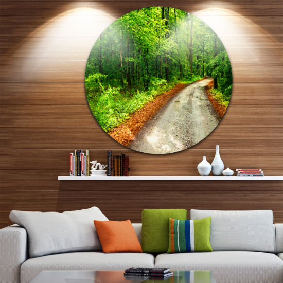 Design Art Pathway in Deep Moss Forest Landscape Metal Circle Wall Art