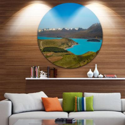 Design Art Fantastic Calm Landscape of New ZealandUltra Glossy Landscape Metal Circle Wall Art