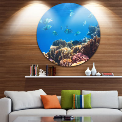 Design Art Bright Blue Waters and Coral Fish LargeSeashore Metal Circle Wall Art