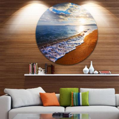 Design Art Heavy Clouds Over Morning Beach Large Seashore Metal Circle Wall Art