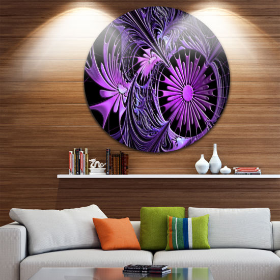 Design Art Embossed Purple Floral Shapes Large Floral Metal Circle Wall Art