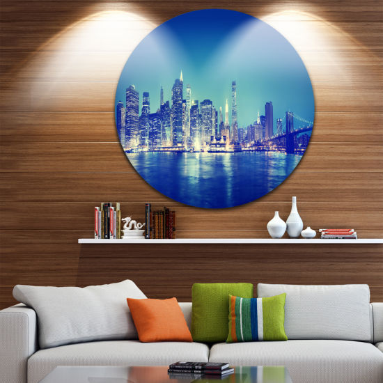 Design Art Blue New York City at Night Panorama Ultra Glossy Cityscape Circle Wall Art