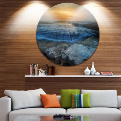 Design Art Beach with Rushing White Waves Beach Metal Circle Wall Art