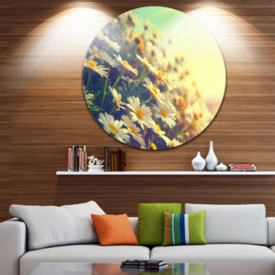 Design Art Nature with Blooming Chamomiles Ultra Glossy Floral Metal Circle Wall Art