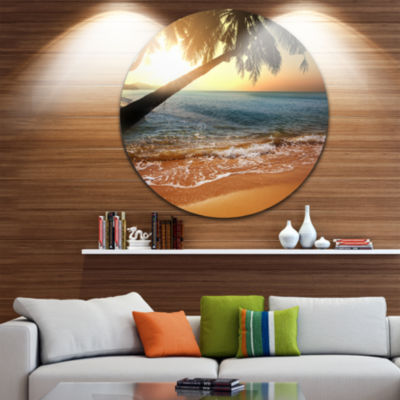Design Art Beautiful Sunset on Tropical Beach Large Seashore Metal Circle Wall Art