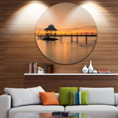 Design Art Wonderful Wooden Pier and Hut Phuket Pier Seascape Metal Circle Wall Art