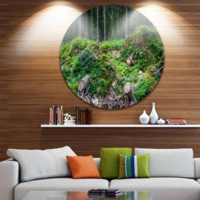 Design Art Wild Deep Forest Rocks and Hills Landscape Metal Circle Wall Art