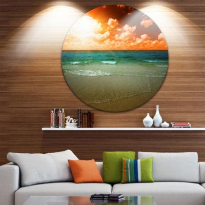 Design Art Dramatic Sky Over Tropical Sea Beach Seascape Metal Circle Wall Art