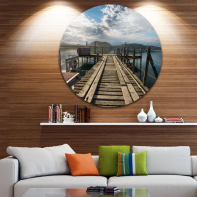 Design Art Wooden Bridge in New Zealand Ultra Glossy Sea Bridge Metal Circle Wall Art