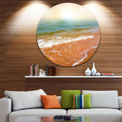 Design Art Clear Waters in Early Morning Beach Large Seashore Metal Circle Wall Art