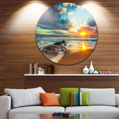 Design Art Beautiful Cloudscape over the Sea BeachMetal Circle Wall Art