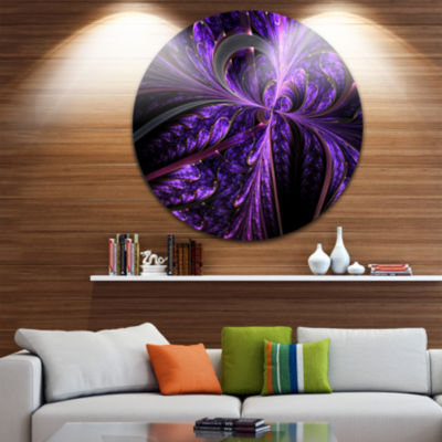 Design Art Embossed Dark Purple Floral Shapes Large Floral Metal Circle Wall Art