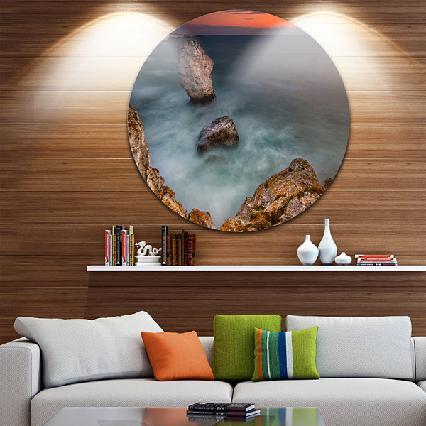 Design Art Big Rock Formations near Tulenovo BeachPhoto Metal Circle Wall Art