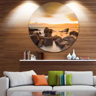 Design Art Rocky Yellow Tropical Beach Large Seashore Metal Circle Wall Art