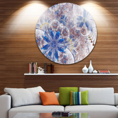 Design Art Blue Brown Grungy Floral Shapes Large Floral Metal Circle Wall Art