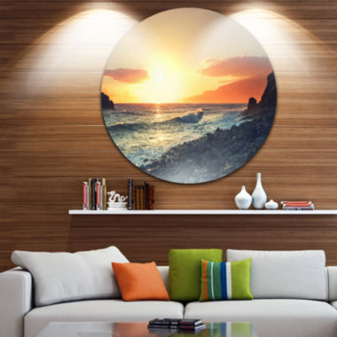Design Art Madeira Coast with Blue Waters Large Seashore Metal Circle Wall Art