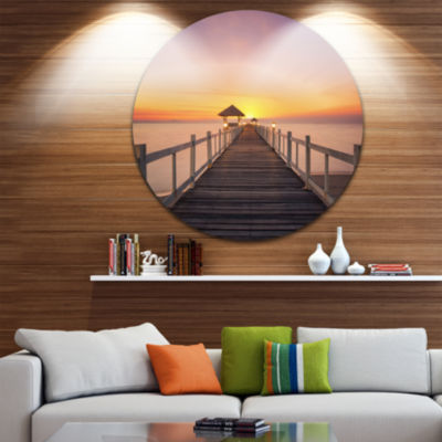 Design Art Wide Wooden Bridge into the Sea Pier Seascape Circle Metal Wall Art