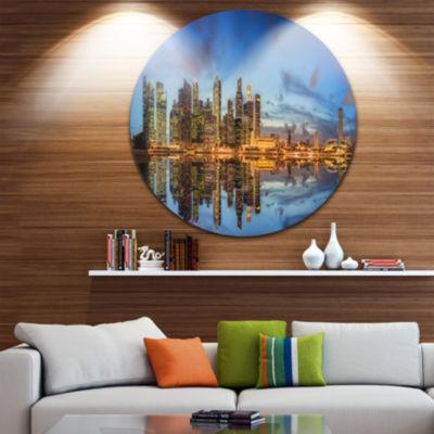 Design Art Singapore Skyline and View of Marina Bay Ultra Glossy Cityscape Circle Wall Art
