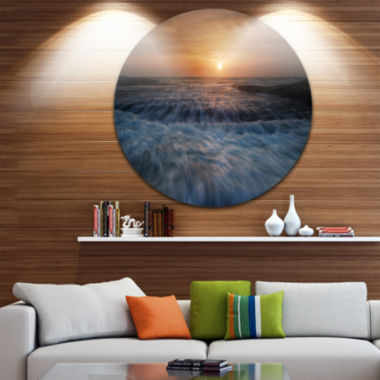 Design Art Sunrise over Rushing White Waves BeachMetal Circle Wall Art