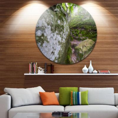 Design Art Large Rocks in Deep Moss Forest Landscape Metal Circle Wall Art