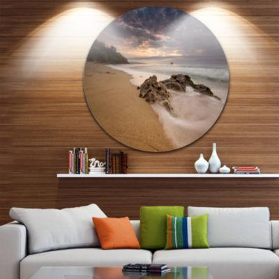 Design Art Peaceful Seashore with White Waves Beach Photo Metal Circle Wall Art