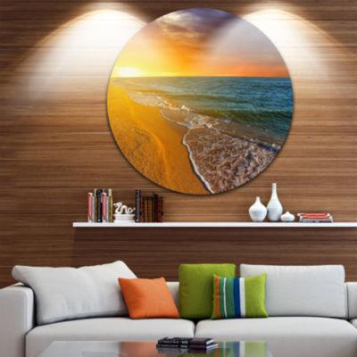 Design Art Fantastic Yellow Sky in Blue Beach Large Seashore Metal Circle Wall Art