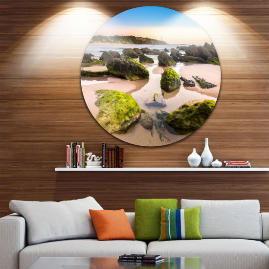Design Art Amazing Landscape at Noraha Head UltraGlossy Seashore Metal Circle Wall Art