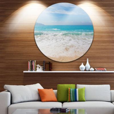 Design Art White Waves Kissing Beach Sand Large Seashore Metal Circle Wall Art