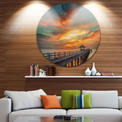 Design Art Colorful Sky and Long Wooden Pier PierSeascape Metal Circle Wall Art
