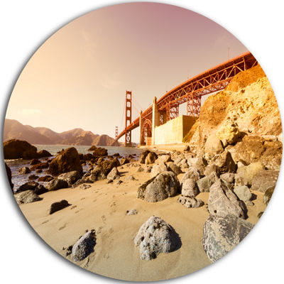 Design Art Golden Gate in Bright Day Ultra GlossyLandscape Metal Circle Wall Art