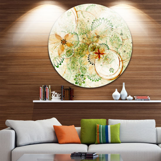 Design Art Yellow Green Grungy Floral Shapes LargeFloral Metal Circle Wall Art