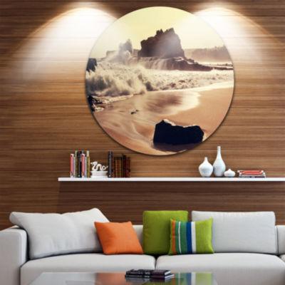 Design Art Java Beach with Foaming Waters Large Seashore Metal Circle Wall Art