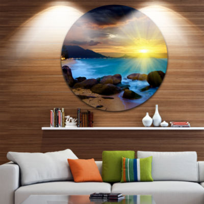 Design Art Bright Yellow Sun over Blue Waters Beach Metal Circle Wall Art