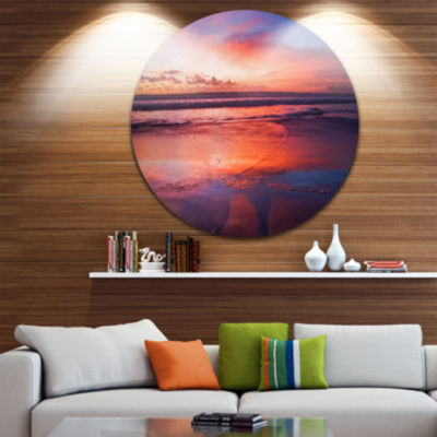 Design Art Colorful Tropical Beach with Clouds Seascape Metal Circle Wall Art