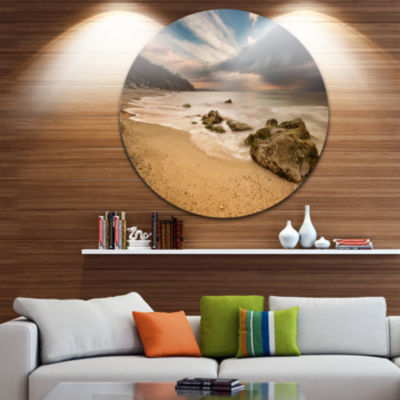 Design Art Exotic Seashore with White Waves BeachPhoto Metal Circle Wall Art