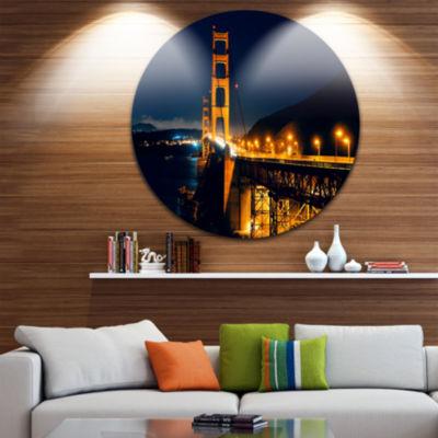 Design Art Golden Gate at Night Ultra Glossy Sea Bridge Metal Circle Wall Art