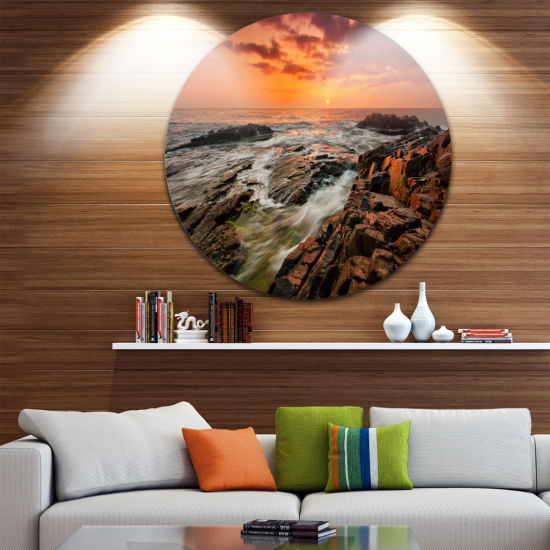 Design Art Stormy Waves Rushing Into Rocks Beach Photo Metal Circle Wall Art