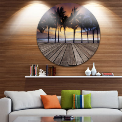 Design Art Old Wood Terrace on Sea Beach LandscapeMetal Circle Wall Art