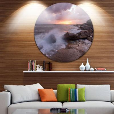Design Art Stormy Waves in Beautiful Australia Beach Ultra Glossy Seashore Metal Circle Wall Art