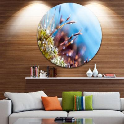 Design Art Abstract Moss Flowers in Summer SpringLandscape Metal Circle Wall Art