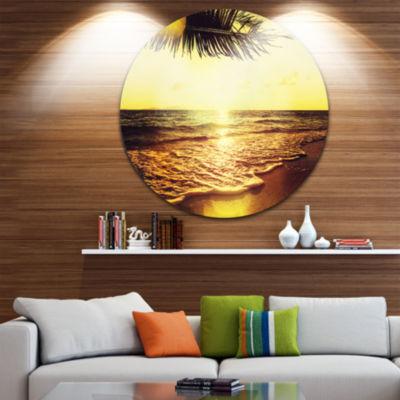 Design Art Clear Yellow Tropical Coastline Large Seashore Metal Circle Wall Art