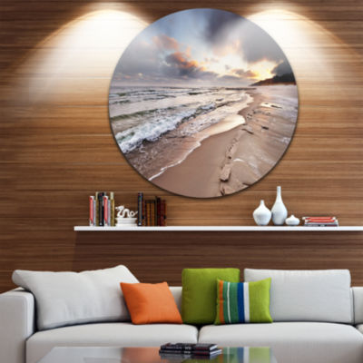 Design Art Shore of Baltic Sea during winter Seascape Metal Circle Wall Art