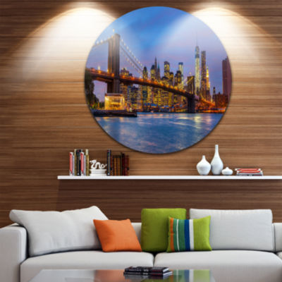 Design Art Brooklyn Bridge with Lights and Reflections Ultra Glossy Cityscape Circle Wall Art