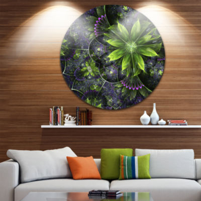 Design Art Glossy Green Purple Fractal Flowers Large Floral Metal Circle Wall Art