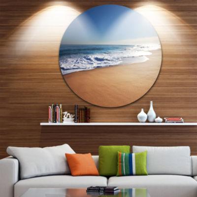 Design Art Calm Blue Seashore with White Sun LargeSeashore Metal Circle Wall Art